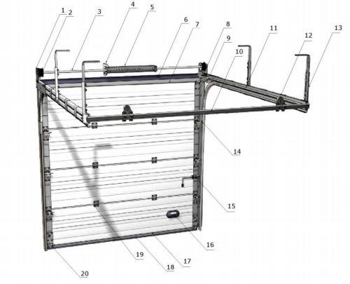схема чертеж автоматических ворот, чертеж гаражных ворот